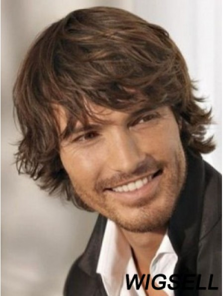 Men Wigs Brown Layered Hair With Capless