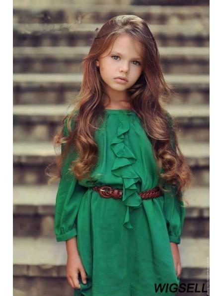 Monofilament Long Wig Girl Brown Hair Wig Human Hair Wig For Kids