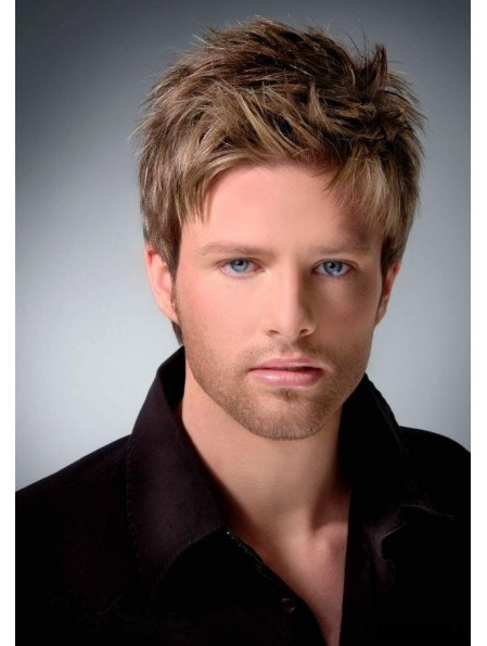"""Monofilam 4"""" Cropped Brown Straight Latest Mens Hairstyles"""
