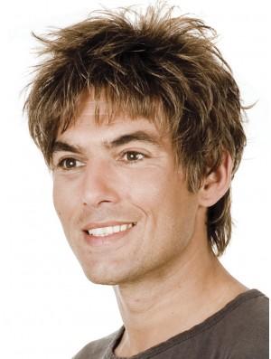 Remy Human Brown Short Shraight With Bangs Men Wig Human Hair