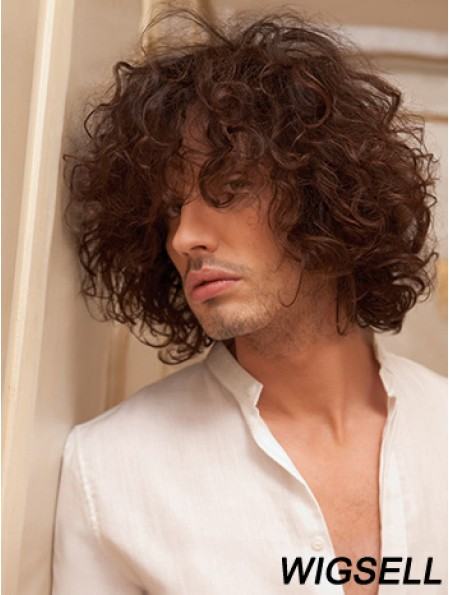 "10"" Remy Human Short Auburn Curly Capless Men Wigs"