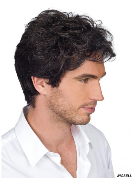 Brown Short Wavy Monofilam Remy Human Hair For Men