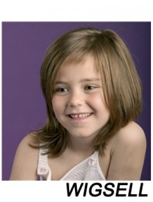 Straight Shoulder Length Brown Remy Human Hair 100% Hand-tied Kids Wigs