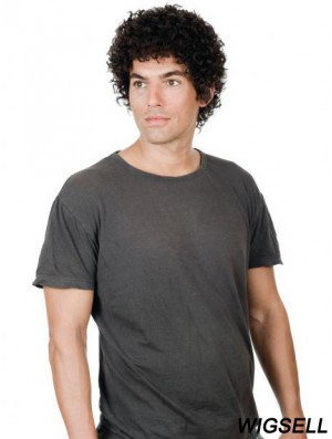 Full Lace Short Remy Human Black Straight Mens Curly Wig