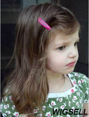 Human Hair Girl Wig Shoulder Length Lace Wig For Kids Brown Color 12 Inch