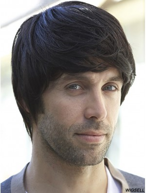 100% Hand Tied Short Black Straight With Bangs Professional Wigs Men