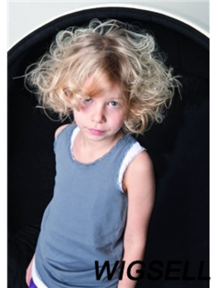 Wavy Chin Length Blonde Synthetic Capless Kids Wigs