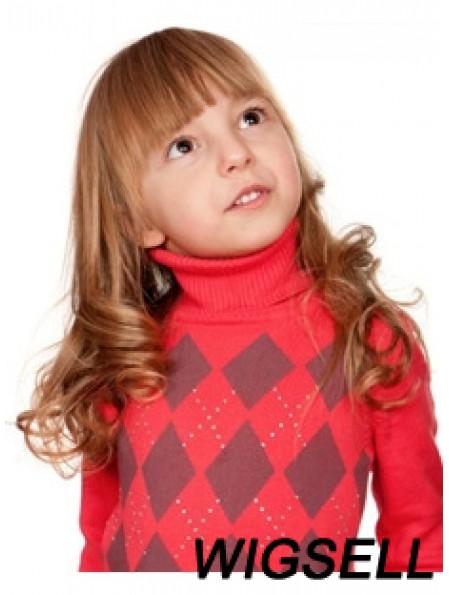 Wavy Long Auburn Remy Human Hair 100% Hand-tied Kids Wigs