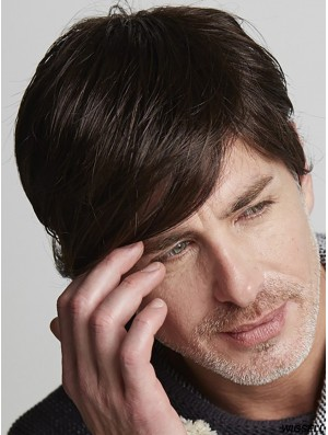 Remy Human Brown Short Straight With Bangs Natural Looking Wigs Men