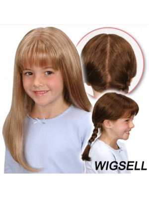 Monofilament Synthetic Long Blonde Straight Wigs For Kids UK
