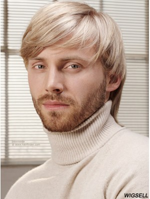 """Full Lace Blonde 6"""" Short With Bangs Costume Wigs For Men"""