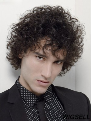 Capless Curly 6 inch Synthetic Short Mans Black Curly Wig