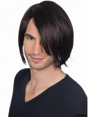 Full Lace Straight Black Men Wigs With Bangs
