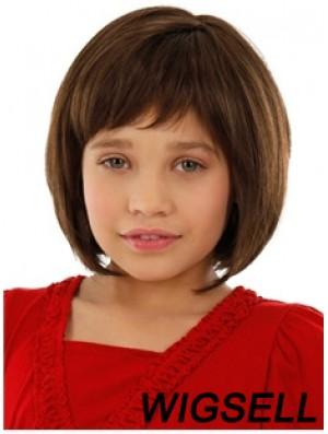 Straight Chin Length Auburn Remy Human Hair 100% Hand-tied Kids Wigs