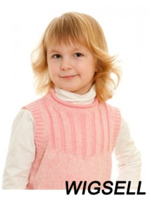 Wavy Shoulder Length Blonde Remy Human Hair 100% Hand-tied Kids Wigs