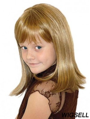Straight Shoulder Length Blonde Synthetic 100% Hand-tied Kids Wigs