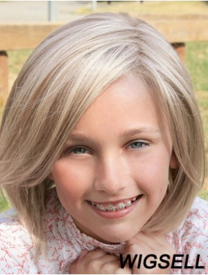 Straight Shoulder Length Blonde Synthetic Lace Front Kids Wigs