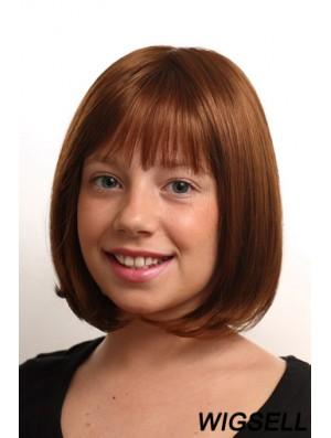 Straight Chin Length Auburn Synthetic Monofilament Kids Wigs
