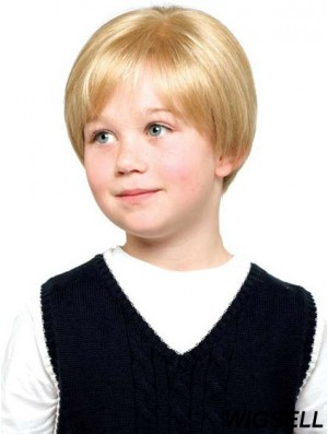 Straight Short Blonde Synthetic Lace Front Kids Wigs
