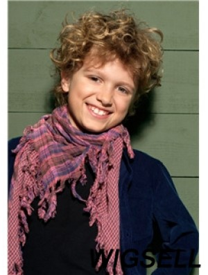 Curly Short Blonde Synthetic Capless Kids Wigs
