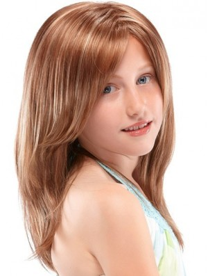 Kids Wigs 100% Hand Tied Straight Style Auburn Color Long Length