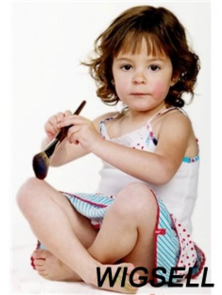 Wavy Chin Length Auburn Remy Human Hair 100% Hand-tied Kids Wigs