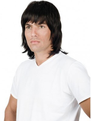 Black Full Lace 10 inch Straight With Bangs Mens Natural Wigs