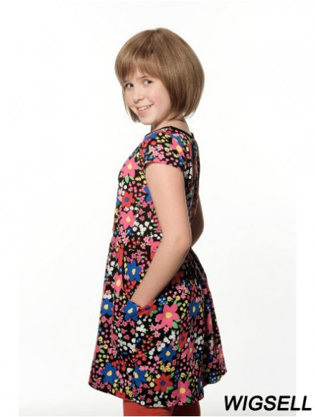 Straight Chin Length Brown Remy Human Hair 100% Hand-tied Kids Wigs