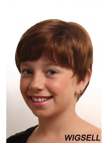 Straight Short Auburn Synthetic Monofilament Kids Wigs