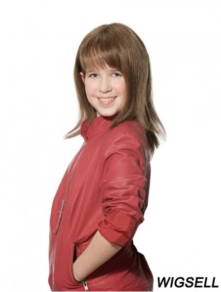 Straight Long Brown Synthetic 100% Hand-tied Kids Wigs