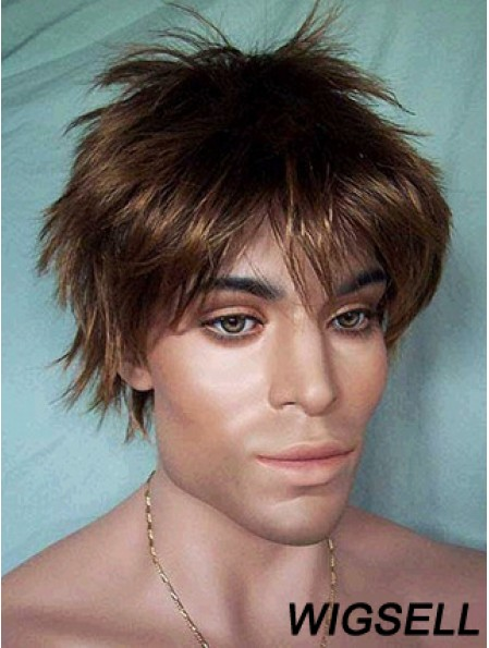 Lace Front Brown Short Straight Synthetic Man Lace Wig