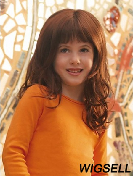 Curly Long Auburn Synthetic Lace Front Kids Wigs