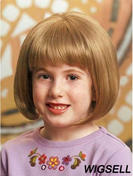 Straight Chin Length Blonde Synthetic 100% Hand-tied Kids Wigs
