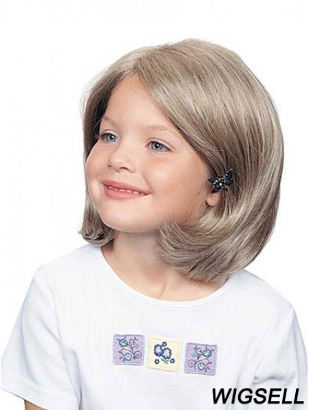 Wavy Chin Length Synthetic 100% Hand-tied Kids Wigs