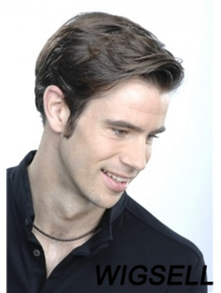Straight Short 100% Hand Tied Brown Lace Wigs For Men