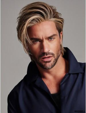 Monofilament 4 inch Straight Blonde Men Wigs