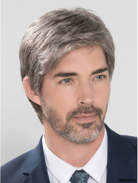 100% Hand-tied Straight Short 4 inch Grey Wigs For Men
