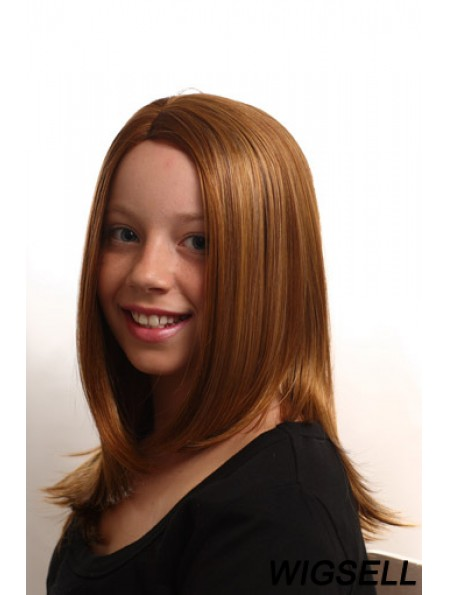 Straight Long Auburn Synthetic Capless Kids Wigs