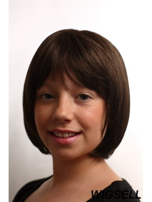 Straight Chin Length Brown Synthetic Capless Kids Wigs