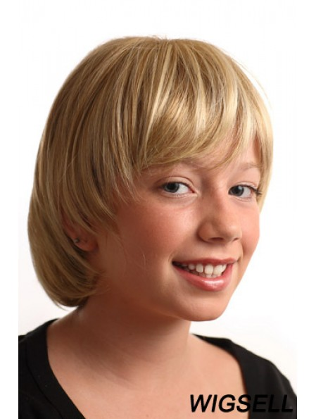 Straight Short Blonde Synthetic Capless Kids Wigs