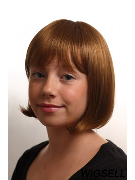 Straight Chin Length Auburn Synthetic Capless Kids Wigs
