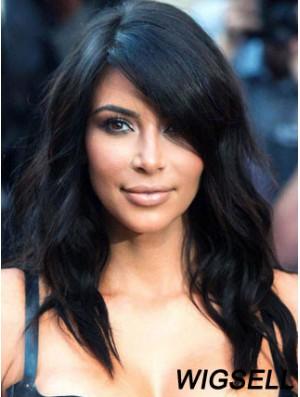 Human Hair Kim Kardashian Wig UK Long Black Wavy Hair Wig