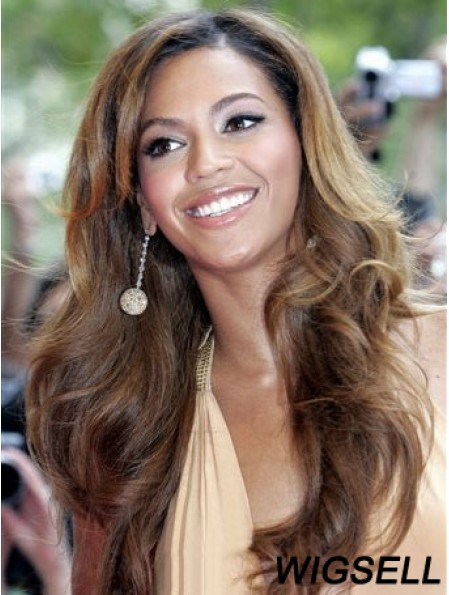 Beyonce Wig With Bangs Brown Color Long Length Wavy Style