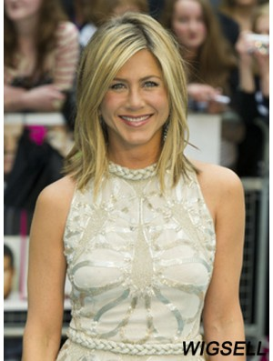 "Shoulder Length Straight Layered Capless Blonde Incredible 14"" Jennifer Aniston Wigs"