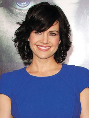 Modern Black Chin Length Wavy 12 inch With Bangs Carla Gugino Wigs