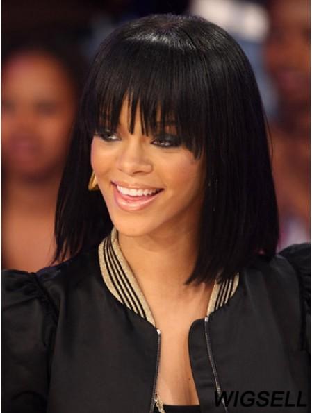 Discount Shoulder Length Black Straight Capless Rihanna Wigs