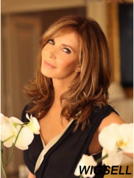 Shoulder Length Wavy Layered Lace Front Brown Trendy 14 inch Jaclyn Smith Wigs