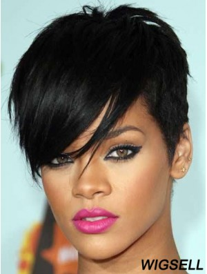 Rihanna Style Glueless Lace Wigs With Bangs Black Color