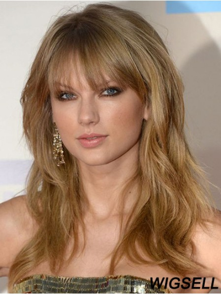 Taylor Swift Wigs Cheap Remy Human Wavy Style With Bangs