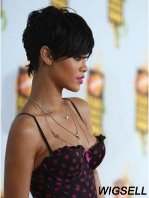 Popular Cropped Black Straight Capless Rihanna Wigs
